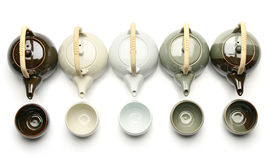 Various teapots and tea cups Stock Photography