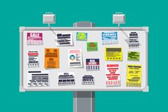 Various tear off papers ad on bulletin board Royalty Free Stock Photos