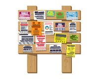 Various tear off papers ad on bulletin board Stock Photos