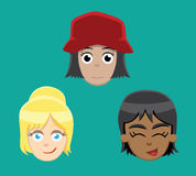 Various Teenage Female Faces Vector Illustration Stock Photo