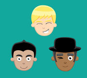 Various Teenage Male Faces Vector Illustration Royalty Free Stock Photography