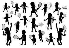 Various Tennis Poses Silhouette Cartoon Vector Illustration Royalty Free Stock Photos