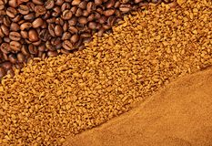 Various texture of coffee. Royalty Free Stock Images