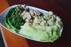 Various thai blanched vegetables Royalty Free Stock Photo
