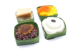 Various Thai sticky rice with topping royalty free stock photos