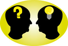 Various thinking. Black head which show different type of thinking Royalty Free Stock Photography