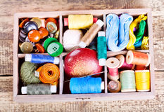 Various threads and sewing tools in box Royalty Free Stock Photos