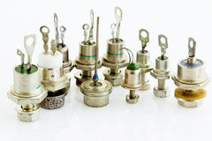 Various thyristors and diodes. Various powerful thyristors and diodes for greater voltages and currents Stock Photo