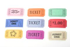 Various tickets. A variety of tickets shot against a white background Stock Photography
