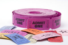 Various tickets. A selection of entrance tickets shot against a white background Stock Photos
