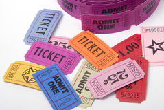Various tickets. A selection of entrance tickets shot against a white background Stock Photo