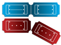 Various tickets in red and blue Royalty Free Stock Images