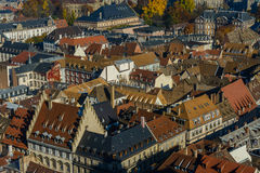 Various tiled roofs historical buildings in Strasbourg city center Stock Photos