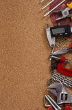 Various tools background. Brown background with various tools stock photos