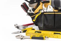 Various tools in bag stock photos