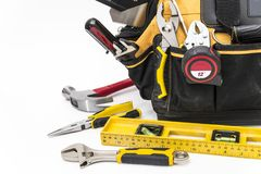 Various tools in bag stock images