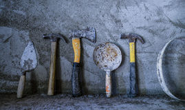 Various tools in a constrction site Royalty Free Stock Photos