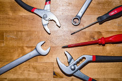 Various tools on the desktop. Many different useful tools on the desktop Stock Photos