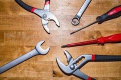 Various tools on the desktop Stock Photos
