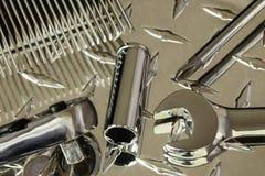 Various tools on Diamond plate royalty free stock photo