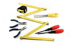 Various tools on white background Stock Images