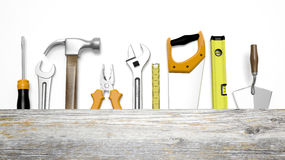 Various tools and wood with copy-space Stock Photos