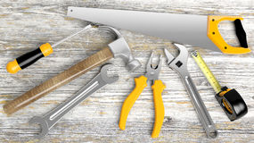 Various tools. On wooden background Royalty Free Stock Photography