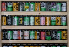 Various Top Brands of Camera Films on The Shelf. The Various Top Brands of Camera Films on The Shelf stock photography
