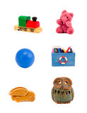Various toys group isolated on white Royalty Free Stock Photos