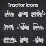 Various Tractor and Construction Machinery Icon set blackboard stylized Stock Images