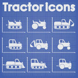 Various Tractor and Construction Machinery Icon set blueprint stylized.  Stock Image
