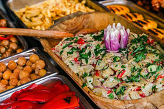 Various traditional Romanian dishes, rustic exposed Royalty Free Stock Photos
