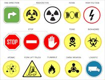Various traffic and warning signs as vector Illustration. Various traffic and warning signs or icons on a white, yellow, green, red and blue background as vector Stock Image