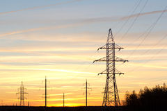 Various transmission towers. Royalty Free Stock Photo