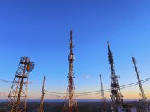Various Transmitters on the top of the Mountain Stock Image
