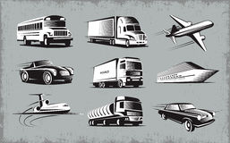 Various Transport Modes Symbol Set Royalty Free Stock Photography