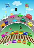 Various transportation objects and toy cars  for c Royalty Free Stock Images