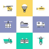Various transportation pictogram icons set. Flat line icons of various transportation, by water and air, on rail and roads, for shipping goods and carriage Stock Photo