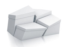 Various trapezoid white boxes. Royalty Free Stock Photo