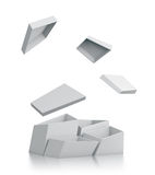 Various trapezoid white boxes and covers Royalty Free Stock Image