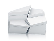 Various trapezoid white boxes from front view. Stock Photos