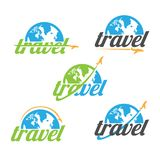 Various travel agency logo design idea and concept with airplane and half of globe. Amazing destinations creative symbol concept. Abstract logo royalty free illustration