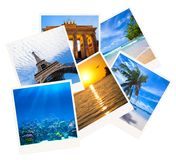 Various travel photo collage isolated on white Royalty Free Stock Photos
