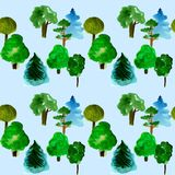 Various trees seamless pattern on light blue background, hand-drawn watercolor illustration of pine, fir, willow, palm. And other vector illustration
