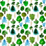 Various trees seamless pattern on white background, hand-drawn watercolor illustration of pine, fir, willow, palm. And other vector illustration