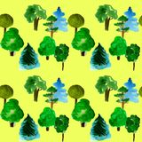 Various trees seamless pattern on yellow background, hand-drawn watercolor illustration of pine, fir, willow, palm. And other vector illustration
