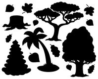 Various trees silhouette collection Stock Photo