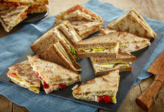 Various triangle sandwiches Stock Photography