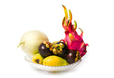 Various tropical fruit isolated on white Stock Images