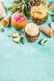 Various tropical ice cream sorbet. Summer holiday vacation concept, set various tropical ice cream sorbets, frozen juices in pineapple, grapefruit and coconut Royalty Free Stock Photos